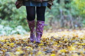 Wellies and leaves on the ground. Autumn is here!