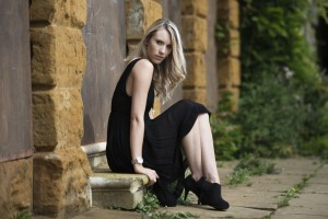 Ashli on the steps of the disused secret location in Northampton