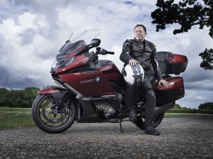 F1 star Martin Brundle with his two-wheel Beemer